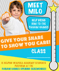 Boy in Karate uniform and fundraising thermometer