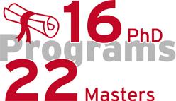 22 Masters and 16 PhD Programs