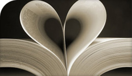 Book with two pages turned into the shape of a heart