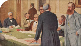 Historical painting illustrating discussions on Confederation in 1867