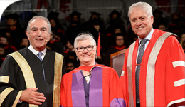 HonDoc Wanda McNevin with YorkU Chancellor Sorbara and President Shoukri 2017-06-22 | Photo