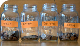 Financial Literacy money-jars for save, invest, donate, spend | photo | 2017-09-13