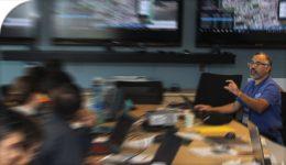Prof Ali Asgary in ADERSIM Emergency Control Centre during TTC emergency simulation | photo-illustration | 2017-11-23