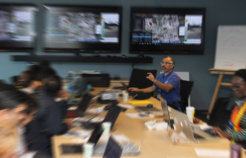 Professor Ali Asgary and students in the Emergency Operations Centre during the TTC Emergency Simulation Exercise, October 25, 2017 | photo-illustration | 2017-11-23