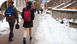 Photo of students moving away from view on Campus Walk | for CBC Dreamers Podcasts | 2018-01-08