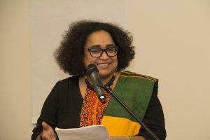 Prof Caroline Shenaz Hossein at podium at BUSO event | 2018-02-15