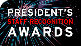 President's Staff Recognition Awards text over fireworks photo | 2018-03-22