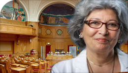 Prof Haideh Moghissi in Swedish parliament chamber | photo illustration | 2018-03-22