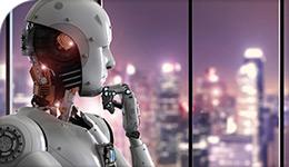 Contemplative Robot looking towards skyline of city | illustration | 2018-04-06