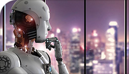 Contemplative Robot looking towards skyline of city | illustration | 2018-04-06
