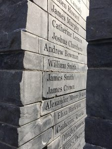 From the memorial that opened in 2007 in Ireland Park. Those who died shortly after arrival have their names carved on granite slabs at the site.