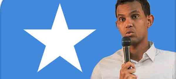 Photo-illustration of BCom Grad Mohamud Siraji, recently elected Somail MP, over Somali flag | 2018-07-21