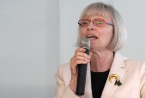 Photo of Professor Valerie Preston at the microphone | 2018-06-05