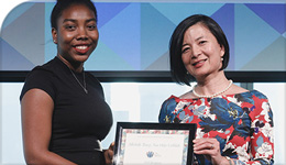 Photo of Mosaic Institute Award Presentation with Tracey Cobblah and Reeta Roy (right) | 2018-08-30