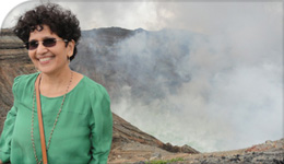 Photo of Professor Nirupama Agrawal beside Mount Asa Volcano | 2018-09-04