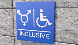 Inclusive washroom sign with all genders and wheelchair symbols