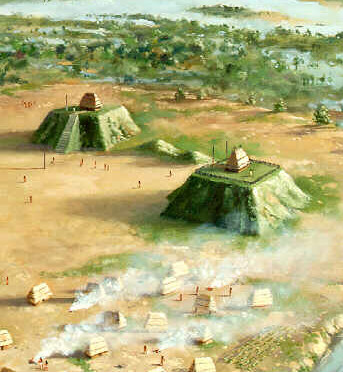 Mississippian village with a two mound plaza