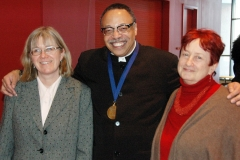 From left, Janet Friskney,  George Elliott Clarke, keynote speaker; and Professor Leslie Sanders.